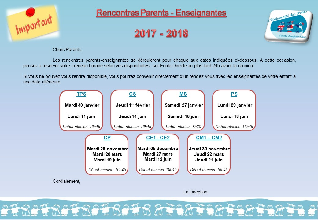 Rencontre parents enseignants cp